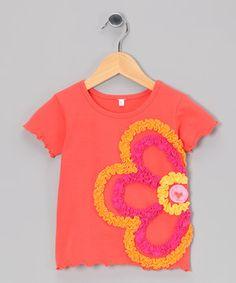 Look at this #zulilyfind! Apricot Flower Lettuce-Edge Tee - Infant, Toddler & Girls by Mulberribush #zulilyfinds