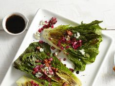 Grilled Romaine With Blue Cheese-Bacon Vinaigrette Recipe : Guy Fieri : Food Network