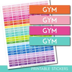 Gym header stickers, Gym planner stickers, Gym printable stickers, Gym stickers…