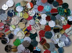 Recycled Tin Discs Charms Tokens Tags  VINTAGE by rakubuttons (Craft Supplies & Tools, Jewelry & Beading Supplies, Charms, chippy paint, shabby chic, scrap metal, eco friendly, upcycled metal blank, recycled tin tag, recycled metal token, recycled tin disc, vintage tin tag, vintage tin charm, recycled tin charm, recycled tin token, tin jewely supply)