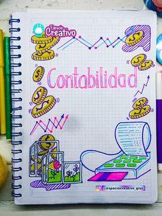 Portada de contabilidad espaciocreativo_giss Doodles, Notebook, Lily, Bullet Journal, Study, Lettering, Anime, School, Bullet Journal Key