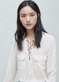 Drawstring neck blouse - Shirts for Woman | MANGO Bulgaria