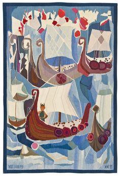 Viking tapestry, Inger Sarin, 1959. via Bukowskis