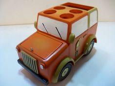 Coastal Bath BAMBOO BAY Jeep Toothbrush & Paste Holder #SaturdayKnightLtd Toothbrush And Toothpaste Holder, Wooden Toys, Tumblers, Jeep, Coastal, Bamboo, Bath, Wooden Toy Plans, Wood Toys