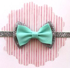 Baby Bow Headband or Clip- Silver Dot and Mint fabric Bow on Silver Sparkle Elastic- Glitter Elastic Headband- Seafoam Green Bow on Etsy, $8.00