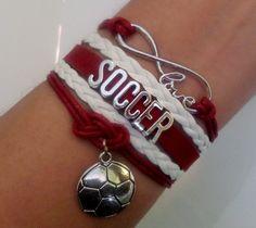 Soccer bracelet, soccer player, Infinity love bracelet, socer pendant charm, Team gifts, sports gift, Teal/ pink/green color
