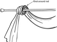 How to Make Scarf Swags for Your Windows - Dummies Scarf Curtains, Window Scarf, Window Drapes, Hanging Curtains, Sheer Curtains, Window Coverings, Window Treatments, Cleaning Granite Countertops, Small Bathroom Window