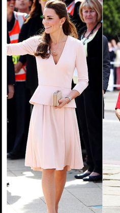 Duchess Catherine in Pale Pink Alexander McQueen  Peplum Dress during Australian Royal Tour