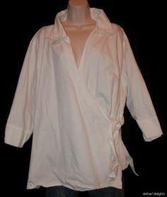 ULLA POPKEN TOP 5X 6X Solid WHITE WRAP Short Sleeve Plus Cotton Crisp Womens