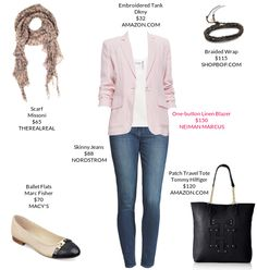 This is something I should probably wear for work but wouldn't be entirely comfortable. Seems like the jacket and scarf would start to bug me. I do WANT some soft pink like this in a top, though.