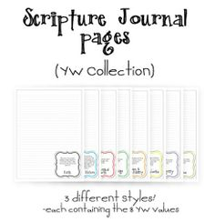 YW Scripture Journal Collection - free printables that correlate scripture study with the YW values.