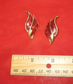 Red Sparkly and Gold Peirced Earrings ~~ for sale at Wenzel Thrifty Nickel eCRATER store