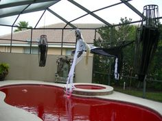 Trying to decorate your pool for Halloween? Check out these 11 cheap Halloween pool party ideas that are sure to spook and fright Pool Party Decorations, Scary Halloween Decorations, Cheap Halloween, Halloween Birthday, Outdoor Halloween, Halloween 2019, Halloween History, Halloween Forum, Halloween Games