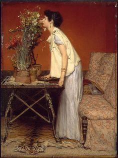 Lawrence Alma-Tadema - Woman and Flowers [1868]