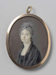Portret van een vrouw met een zwarte sjaal, Leonardus Temminck, 1763 - 1813