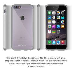 Amazon.com: iPhone 6 / 6s Case | iCASEIT EverClear GRAY Bumper Case | A unique combination of Thermoplastic Polycarbonate & Plastic | Non-Slip, Exact-Fit, Cushined Corners & Premium Finish - GRAY: Electronics