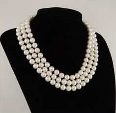 Jacqueline Kennedy First Lady Triple Strand Faux Pearl Necklace