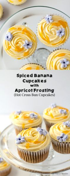 Spiced Banana Cupcakes with Apricot Frosting - These super moist, delicious cupcakes have a hint of spice and are studded with raisins with a buttery White Chocolate, Apricot frosting! Easy to make and every bit as delicious as Hot Cross Buns (if not more!) (Video + Recipe)