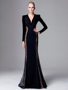 Glamorous Zuhair Murad V Neck With Long Sleeve Floor Length Formal Evening  Dress Celebrity Dresses Custom Petite Evening Dress Petite Long Evening  Dresses ... f0098e5e7dc4