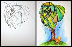 Abookworm'sdream .. This mom and artist transforms her child's scribbles into artwork
