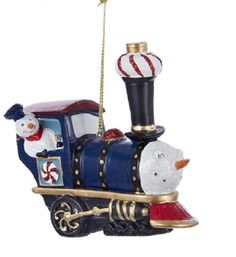 3.75 Blue Peppermint Twist Snowman Glittered Steam Engine Train Christmas Ornament 32259523 | ChristmasCentral