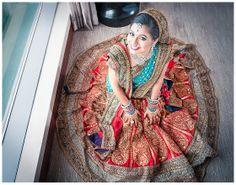 Red and turquoise Bridal lehenga