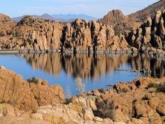 Watson Lake by the Granite Dells in Prescott from Chino Valley, AZ