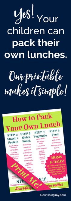 Healthy homemade lunchables make lunch packing SIMPLE, whether you or your child is doing the packing! There's also a TON of printable info in this post to help your kids be able to pack their own healthy lunch, including this handy-dandy printable. (I hang mine on the inside of the lunch supplies cupboard.) :)