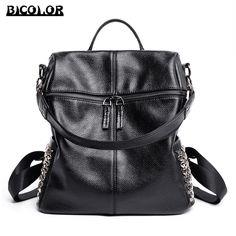 0df6467f0c77 BICOLOR Vintage Women Leather Backpack Ladies Genuine Leather Backpacks  Rivet Shoulder Women s Back Pack Bag Girls