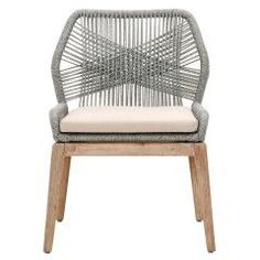 """- Dimensions: W:23.5"""" D:26"""" H:33.5"""" - Light Grey Cushion, Stone Wash Legs - Seat height: 17"""" - Arm height: 24.5"""" - Upholstered removable seat cushion - Intricate rope weave design - Please allow 4-6 w"""