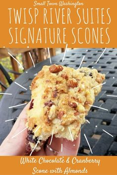 Recipe for white chocolate and cranberry scones with almonds - Twisp River Suites Signature Scone.