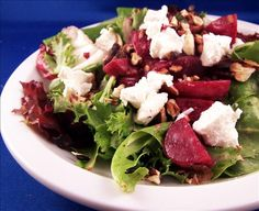 "Beet Salad with Goat Cheese & Walnuts: ""I've made the beet/cheese/nut salad many times before, but this recipe really stands out because of the fresh basil. YUM! I also used fresh roasted beets but otherwise followed the recipe to a T."" -smellyvegetarian"