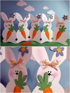 Rabbit parade - You can easily recreate this funny rabbit parade.de and hav - Easter Crafts, Crafts For Kids, Diy Crafts, Red Christmas, Christmas Crafts, Easter Drawings, Funny Rabbit, Fete Halloween, Dollar Tree Crafts