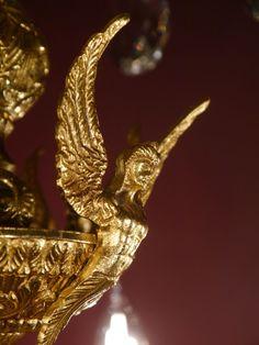 HUGE EYECATCHER GOLD BRONZE SPANISH CHANDELIER CRYSTAL VINTAGE LAMP OLD  ANCIENT | EBay