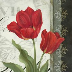 Decorative Red tulip painting with damask