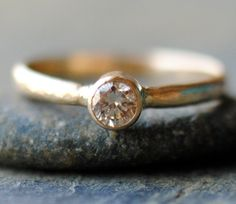 Simple Diamond Engagement Ring Solitaire by DalkullanJewelry, $750.00