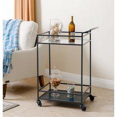 Abbyson Living Charcoal Blue Iron/Glass Kitchen Bar Cart | Overstock.com Shopping - The Best Deals on Kitchen Carts