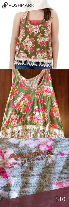Racerback Arizona sleeveless shirt Super adorable racerback Arizona tank shirt with fringe design on the bottom. Size XL but definitely fits a M/L Price may be negotiable. Candie's Tops Tank Tops