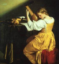 """Orazio Gentileschi Italian circa 1563 - 1639 """"The Lute Player"""""""