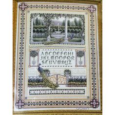 Teresa Wentzler ENGLISH GARDEN SAMPLER Cross Stitch Kit Peacocks ABCs 123 Beads by NeedleLittleTherapy on Etsy