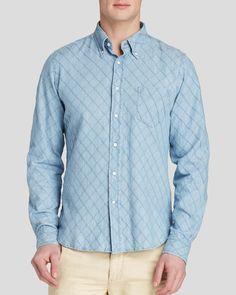 Gant Rugger Textured Diamond Chambray Button Down Shirt - Slim Fit