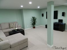 Dark Basement Turned Bright Family Room A dark and unfinished basement fullyu2026 & How to paint your basement floor tutorial. So bright and well lit ...