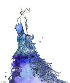 Watercolor Fashion Illustration- Starstruck Dress print