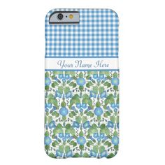 A light-weight and slim Case to personalize for your iPhone 6 smartphone, with a pattern of blue Morning Glory flowers teamed with a matching Check Gingham pattern, all on a white background. Part of the Posh & Painterly 'Morning Glory' collection, this pattern will fit all of the cases. Up to $47.95 - http://www.zazzle.com/blue_morning_glory_and_check_gingham_iphone_6_case-256202112688613283?rf=238041988035411422&tc=pintw