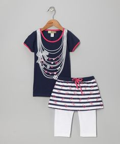 Take a look at this Navy & White Nautical Tee & Skirted Leggings - Toddler by My Sweet Doll on #zulily today!