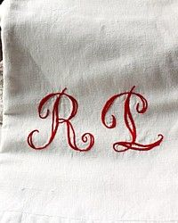 Antique Turkey Redwork Metis Monogrammed Towel Runner-red, hand embroidered, family linen, heirloom,french,R, L, homespun,victorian