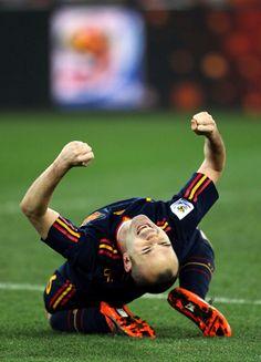Jubilant Iniesta - FC Barcelona/Spanish National Team