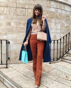 """5,675 Likes, 86 Comments - Jenny Cipoletti (@margoandme) on Instagram: """"Post breakfast at @tiffanyandco with @whowhatwear  kind of loving the burnt orange + cerulean blue…"""""""