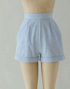 pastel blue vintage high waisted shorts ♡