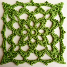"""Lacy Block, free crochet pattern by Iin Wibisono. 5.5"""" square worked with baby yarn & hook size C."""